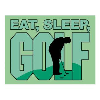 Coma el golf del sueño tarjetas postales