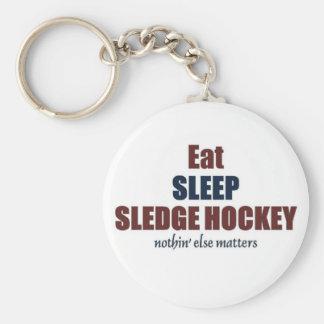 Coma el hockey de Sledged del sueño Llavero Redondo Tipo Pin