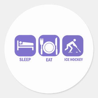 coma el hockey sobre hielo del sueño etiquetas redondas
