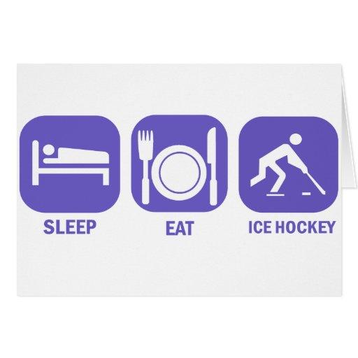 coma el hockey sobre hielo del sueño tarjeta de felicitación