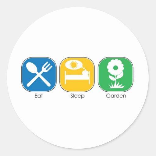 Coma el jardín del sueño etiqueta redonda