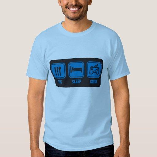 Coma el juego del sueño en camiseta divertida azul playeras
