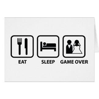 Coma el juego del sueño encima tarjeta de felicitación