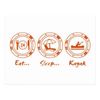Coma el kajak del sueño tarjeta postal