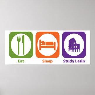 Coma el latín del estudio del sueño póster