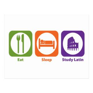 Coma el latín del estudio del sueño tarjetas postales