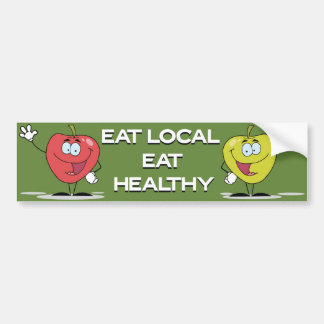 Coma el Local comen manzanas felices sanas Etiqueta De Parachoque