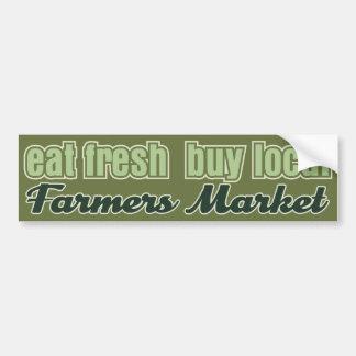 Coma el mercado fresco de los granjeros etiqueta de parachoque