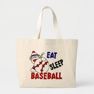 Coma el mono del calcetín del béisbol del sueño bolsa de tela grande