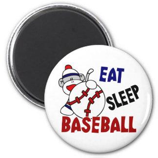 Coma el mono del calcetín del béisbol del sueño imán redondo 5 cm