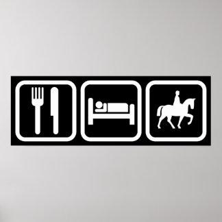 Coma el montar a caballo del sueño póster