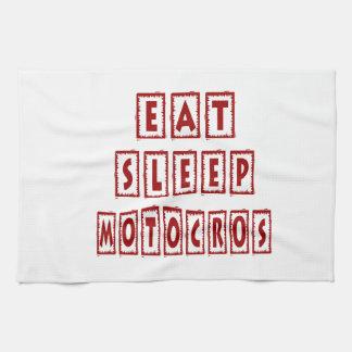 Coma el motocrós del sueño toallas de cocina