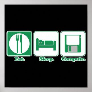 coma el ordenador del sueño (el verde) póster