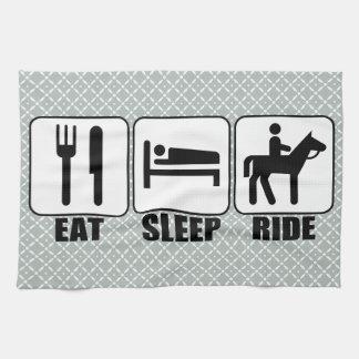 Coma el paseo del sueño una equitación del toalla de mano