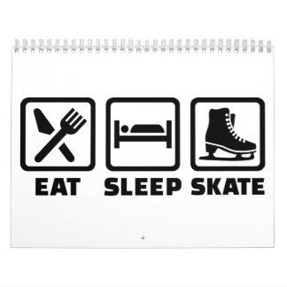 Coma el patinaje del patín del sueño calendarios