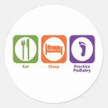 Coma el Podiatry de la práctica del sueño Pegatina Redonda