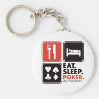 Coma el póker del sueño llavero redondo tipo pin