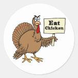 Coma el pollo etiqueta redonda