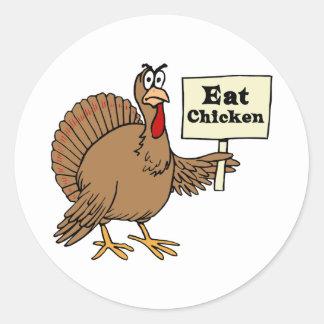 Coma el pollo pegatina redonda