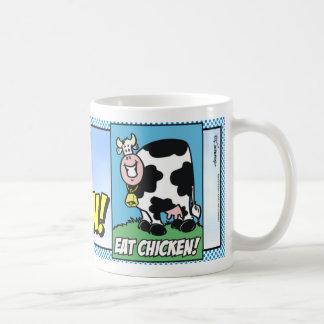 ¡Coma el pollo! Taza Básica Blanca