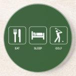 Coma el práctico de costa del golf del sueño posavasos personalizados