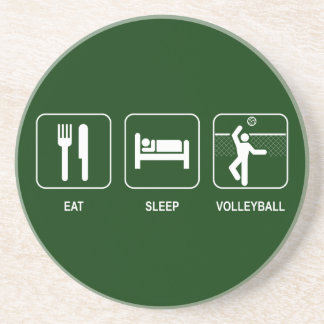 Coma el práctico de costa del voleibol del sueño posavasos personalizados