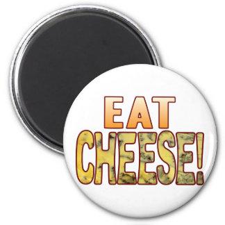 Coma el queso verde imán redondo 5 cm