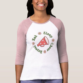Coma el raglán del rosa de la repetición de la camisetas