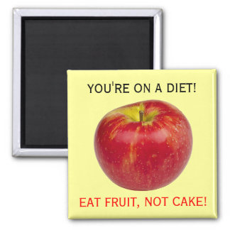Coma el recordatorio sano de la dieta de la fruta  imán cuadrado