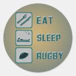 Coma el rugbi del sueño etiquetas redondas