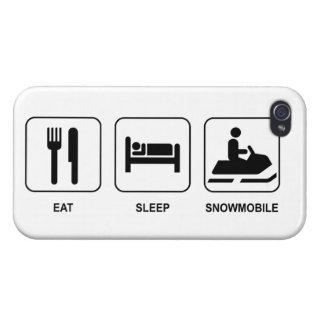 Coma el Snowmobile del sueño iPhone 4 Protectores