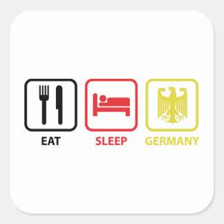 Coma el sueño Alemania Calcomania Cuadradas Personalizadas