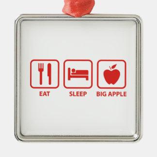 Coma el sueño Apple grande Adorno Cuadrado Plateado
