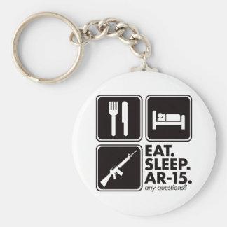 Coma el sueño AR-15 - negro Llavero Redondo Tipo Pin