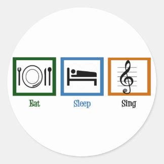 Coma el sueño cantan pegatina redonda