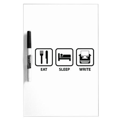 Coma el sueño escriben tableros blancos