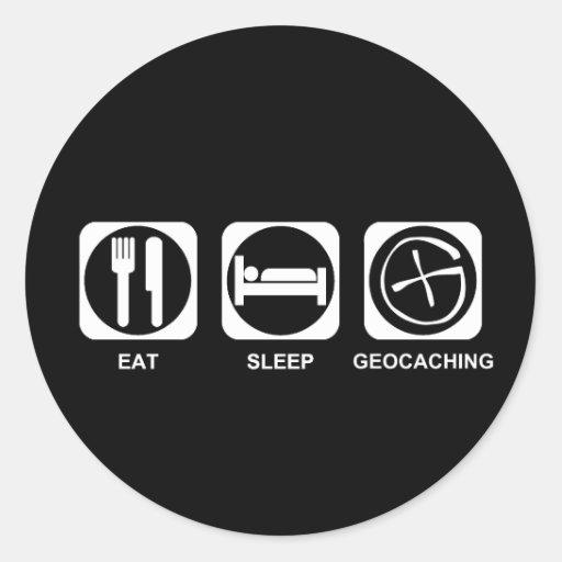 Coma el sueño Geocaching Etiquetas Redondas