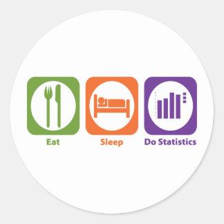 Coma el sueño hacen estadísticas pegatina redonda