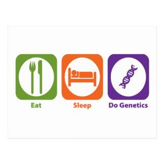 Coma el sueño hacen genética tarjeta postal