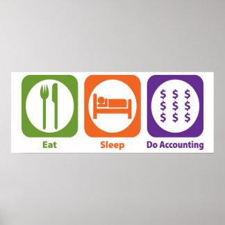 Coma el sueño hacen la contabilidad impresiones