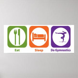 Coma el sueño hacen la gimnasia póster