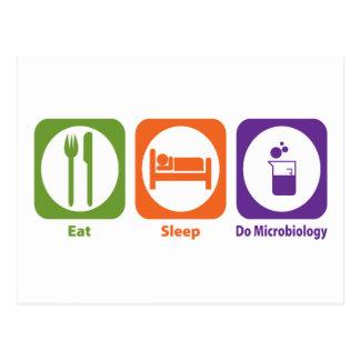 Coma el sueño hacen la microbiología tarjetas postales