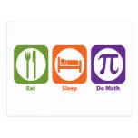 Coma el sueño hacen matemáticas tarjeta postal