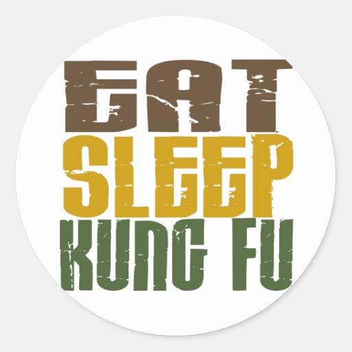 Coma el sueño Kung Fu 1 Pegatina Redonda