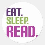 coma el sueño leído etiquetas redondas