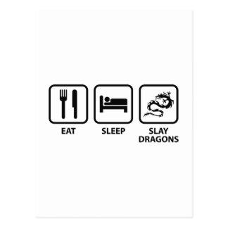 Coma el sueño matan dragones tarjeta postal