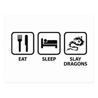 Coma el sueño matan dragones tarjetas postales
