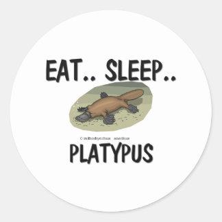 Coma el sueño PLATYPUS Pegatina Redonda