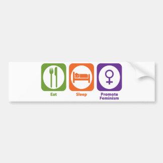Coma el sueño promueven feminismo pegatina para auto