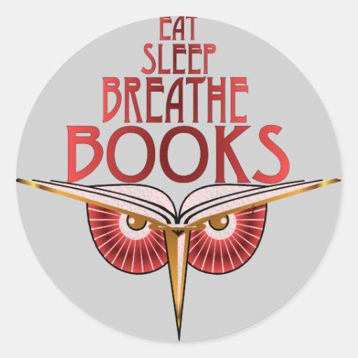 Coma el sueño respiran al pegatina de los libros